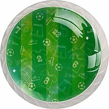 Green Soccer Football 4 Pieces Crystal Glass