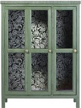 Green Solid Acacia and Tempered Glass 2-Door