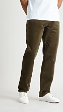 Green Straight Leg Corduroy Trousers With Stretch