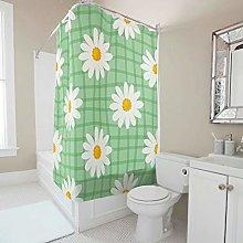 Green Summer White Daisy Shower Curtain Bathroom