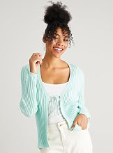 Green Tie Front Ribbed Cardigan - 16