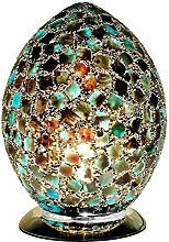 Green Tile Mosaic Glass Vintage Egg Table Lamp