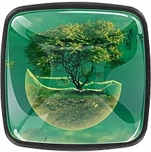 Green Trees Sea Fish Square Cabinet Knobs 4pcs