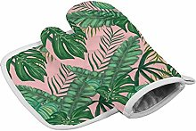 Green Tropical Leaves Heat Resistant Oven Gloves