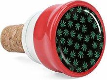 Green Weed Leaves Pattern Wine Cork Wine Bottle