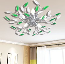 Green&White Ceiling Lamp with Acrylic Crystal Leaf