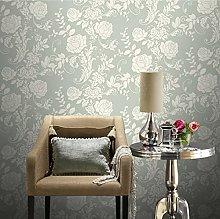 Green White Metallic Floral Trail Glitter Textured