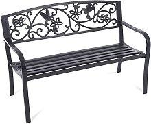 Greenhurst 2 Seater Metal Garden Bench - Black