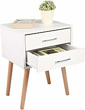 Greensen Bedside Table White Side Cabinet with 2