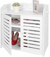 Greensen Shoe Cabinet White Shoe Rack Wood Shoe