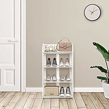 Greensen Shoe Rack White Bookcase Small Shelf 4