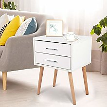 Greensen White Bedside Table Side Cabinet with 2