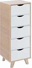 Greensen White Wood Cabinet with 5 Drawers, Wood