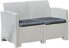 Grey 2-Seater Rattan Effect Lounge Sofa & Cushion