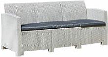 Grey 3-Seater Rattan Effect Lounge Sofa & Cushion