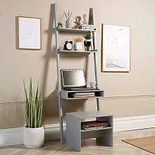 Grey 3 Tier Ladder Desk Unit Home Office Shelving