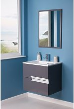Grey 600mm Bathroom Vanity Basin Unit Wall Hung