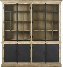 Grey and Black 4-Door Display Cabinet