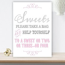 Grey and Pink Sweet Table Sign (GP8) (White Linen
