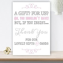 Grey and Pink Wedding Gift Table and Card Sign