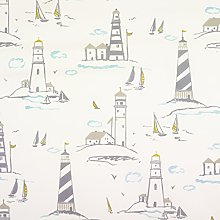 Grey and Taupe Traditional Lighthouse Scene