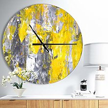 Grey and Yellow Abstract Pattern Wall Clock for