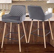 Grey Bar Stool Set of 2 with Leather Backrest &
