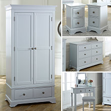 Grey Bedroom Furniture, Wardrobe, Large Chest of