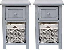 Grey Bedside Tables set of 2,Shabby Chic Bedside