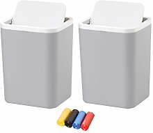 Grey Bin with Swing Lid for Home, 1.5L Small Waste