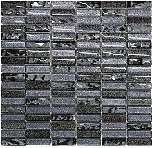 Grey & Black Glass Glitter Mosaic Tiles Sheet for