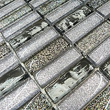 Grey & Black Glass Glitter Mosaic Tiles Sheet for