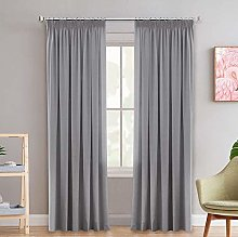 Grey Blackout Window Curtain Drapes Modern Room