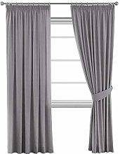 Grey Blackout Window Curtain Drapes Modern Room