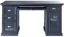 Grey Blue 1-Door 4-Drawer Desk Newport