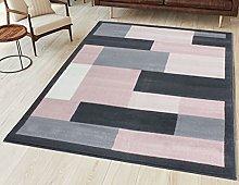 Grey Blush Transitional Geometric Rug Soft Pink