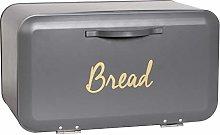Grey Bread Bin Front Open Kitchen Loaf Storage Box