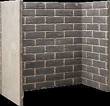 Grey Brick Fireplace Chamber