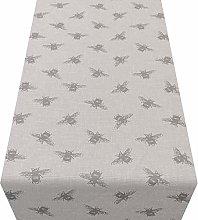 Grey Bumblebee Table Runner. Linen Style Vintage