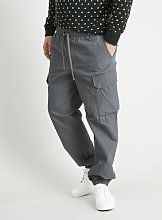 Grey Canvas Cargo Loose Fit Pull On Joggers - W42