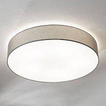 Grey ceiling lamp Pasteri, linen lampshade 76 cm