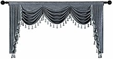 Grey Chenille Window Curtains Valance for Living