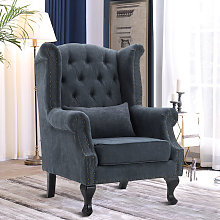 Grey Chesterfield High Wingback Armchair Fabric