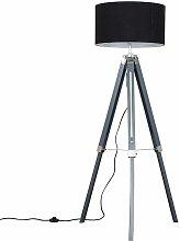 Grey & Chrome Tripod Floor Lamp with Rolla Shade -