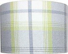 Grey Citrus Balmoral Check Drum Lampshade (40 cm