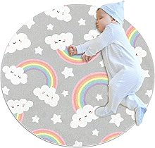 Grey Clouds Stars, Printed Round Rug for Kids