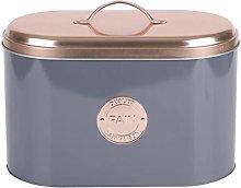 Grey & Copper Bistro Style Metal Bread Storage Bin