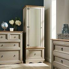 Grey Corona Pine Armoire Wardrobe 1 Door Mirrored