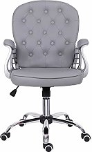 Grey Desk Chair,Leather Office Chair with Armrest