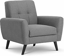 Grey Fabric Armchair, Happy Beds Monza Upholstered